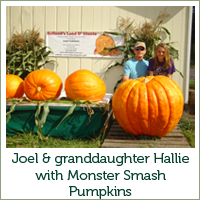 Joel & grandaughter Hallie with Monster Smash Pumpkins